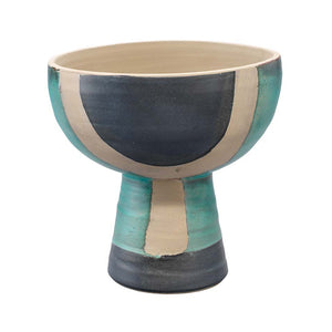 Blanche Decorative Ceramic Vessel - Black, Aqua & Natural