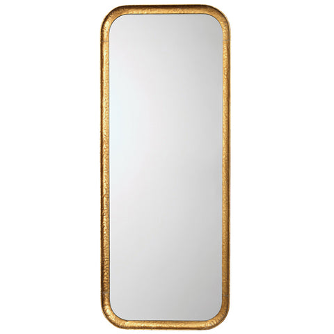 Large Rounded Rectangle Mirror with Gold Leaf Finish