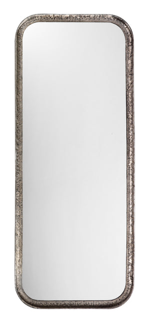 Capital Mirror in Silver Leaf Metal