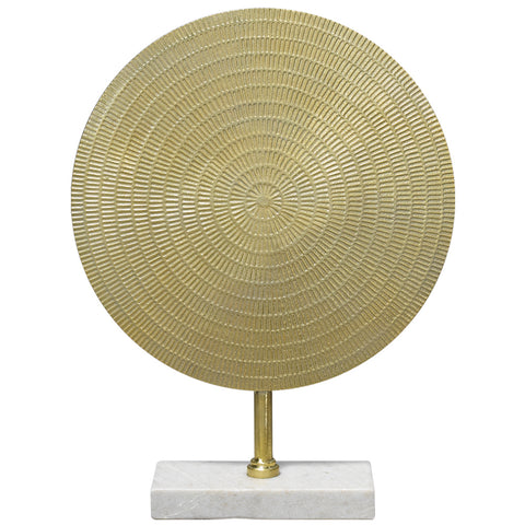 Small Egyptian Gold Disc Sculpture with Marble Base