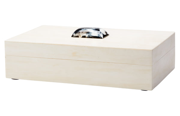 Constantine Large Rectangle Box in Cream Resin with Horn Accent