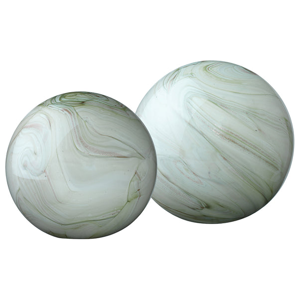 Large & Small Cosmos Hand Blown Glass Balls – Sage Green