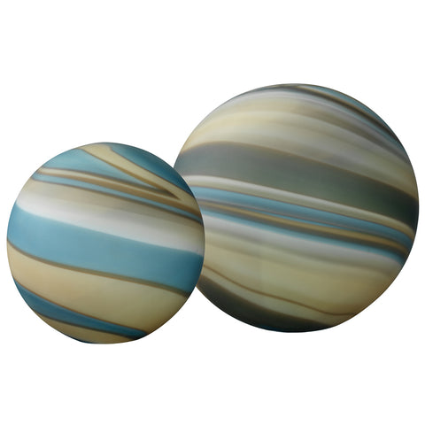 Large & Small Cosmos Hand Blown Glass Balls – Blue Striped