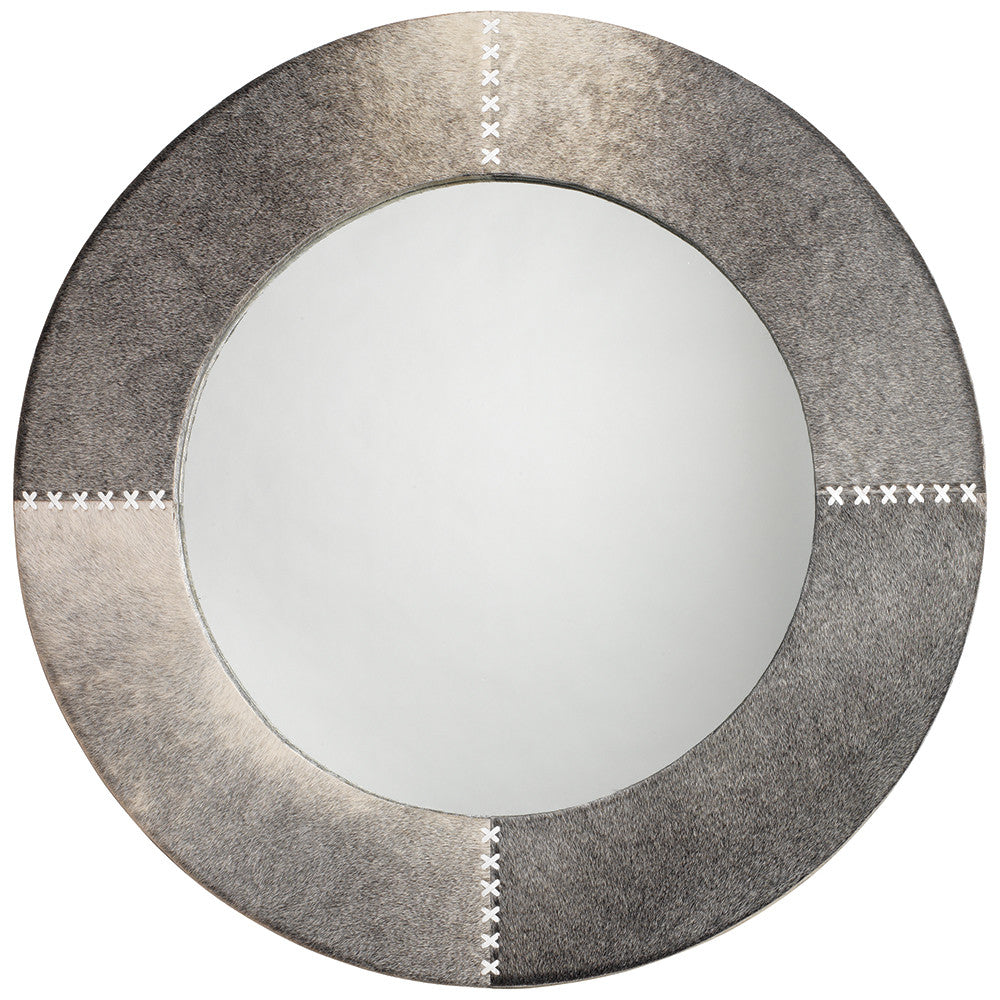 Round Hair on Hide Mirror with Whip Stitch Accents – Grey