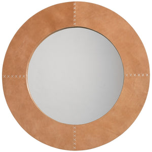 Buff Leather Mirror with Whip Stitch Accents – Brown