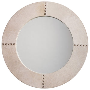 Round Hair on Hide Mirror with Whip Stitch Accents – White