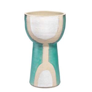 Tall Decorative Ceramic Goblet - Aqua, Natural & White