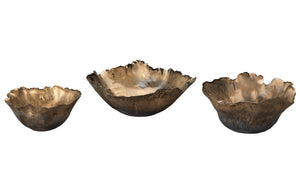 Fleur Ceramic Bowls in Antique Gold Ceramic (set of 3)