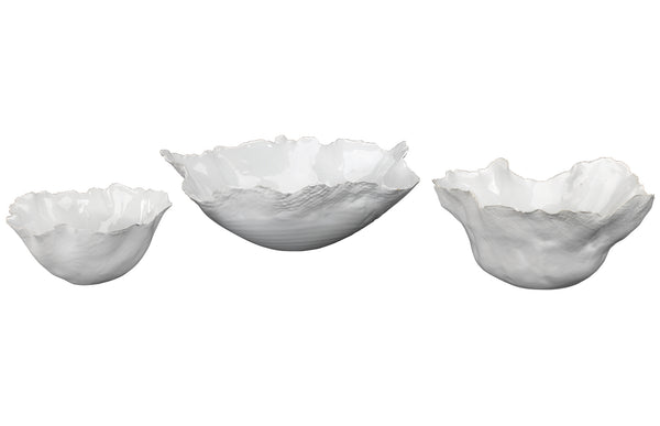 Fleur Ceramic Bowls in White Ceramic (set of 3)