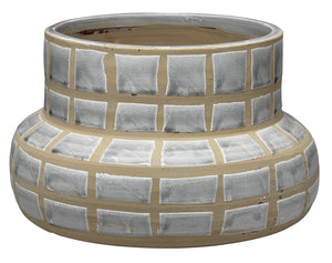 Grid Ceramic Vase in Grey Ceramic