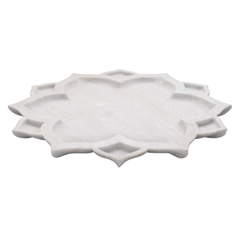 Decorative Marble Lotus Platter - White Marble