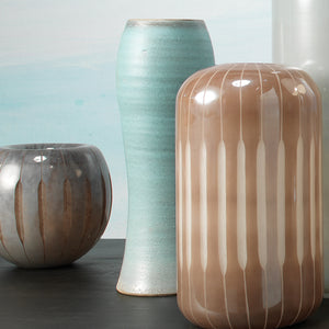 Hand Crafted Ceramic Vase with Color-Blocked Design
