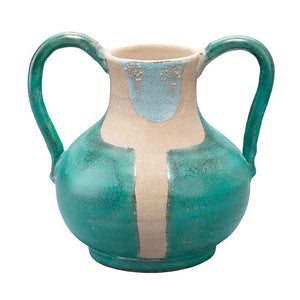 Two Handle Decorative Ceramic Vessel - Aqua, Natural & Blue