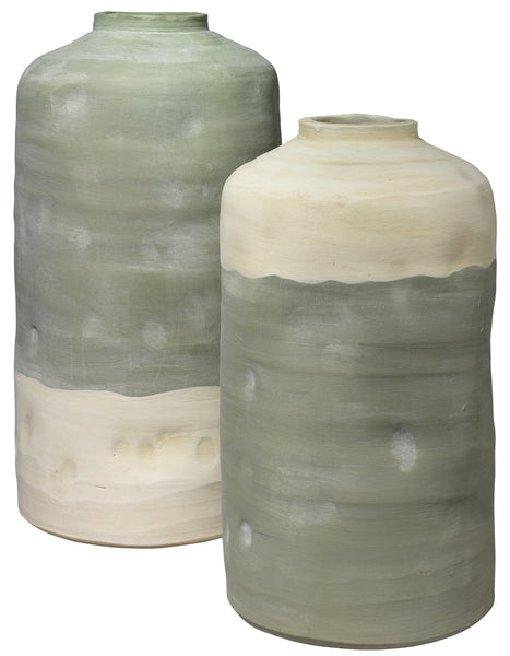 Mohave Vessels in Pistachio Ceramic (Set of 2)