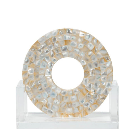 Small Mother of Pearl Disc Sculpture on Acrylic Stand
