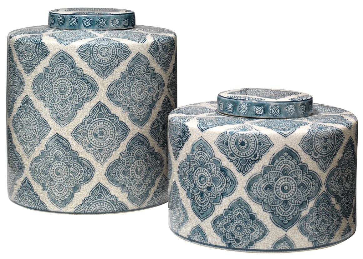 Oran Canisters in Blue and White Ceramic (Set of 2)
