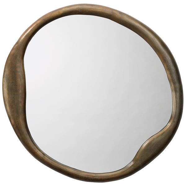 Organic Round-Shaped Mirror – Brass