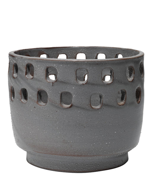 Large Perforated Pot in Grey Ceramic