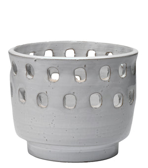 Large Perforated Pot in White Ceramic