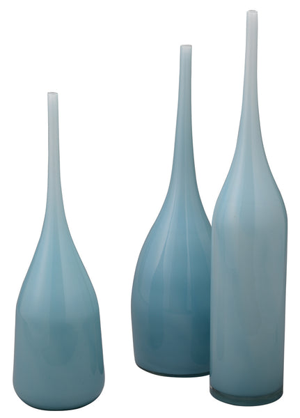 Pixie Decorative Vases in Periwinkle Blue Glass (set of 3)