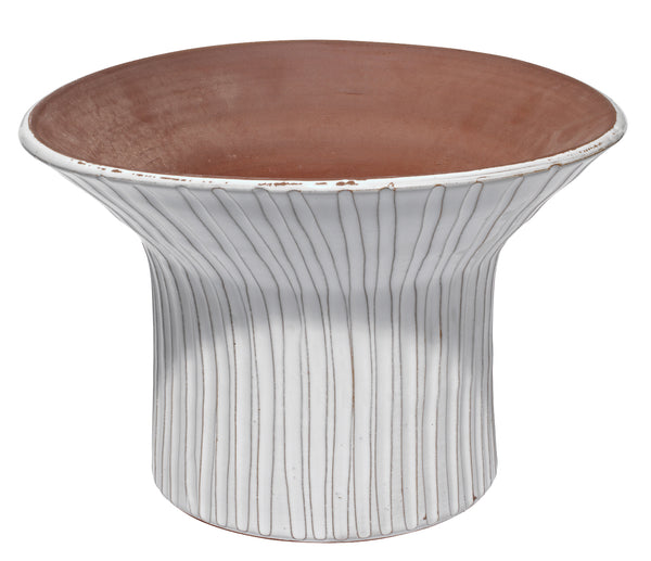 Wide Podium Vessel in Cream Ceramic