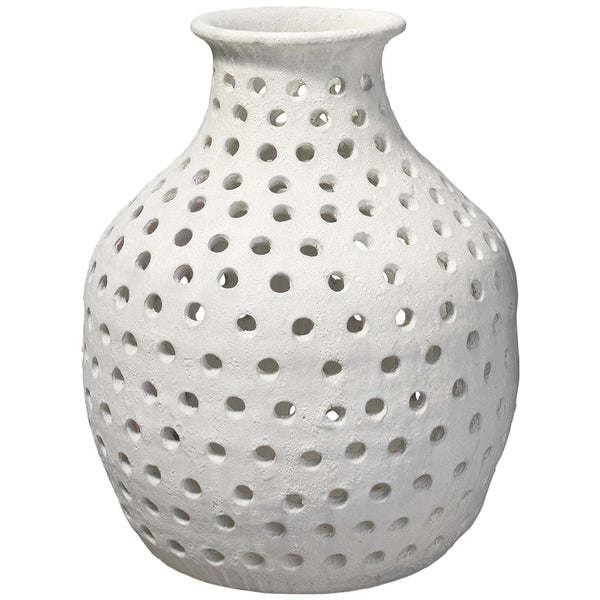 Small Rustic White Ceramic Vase