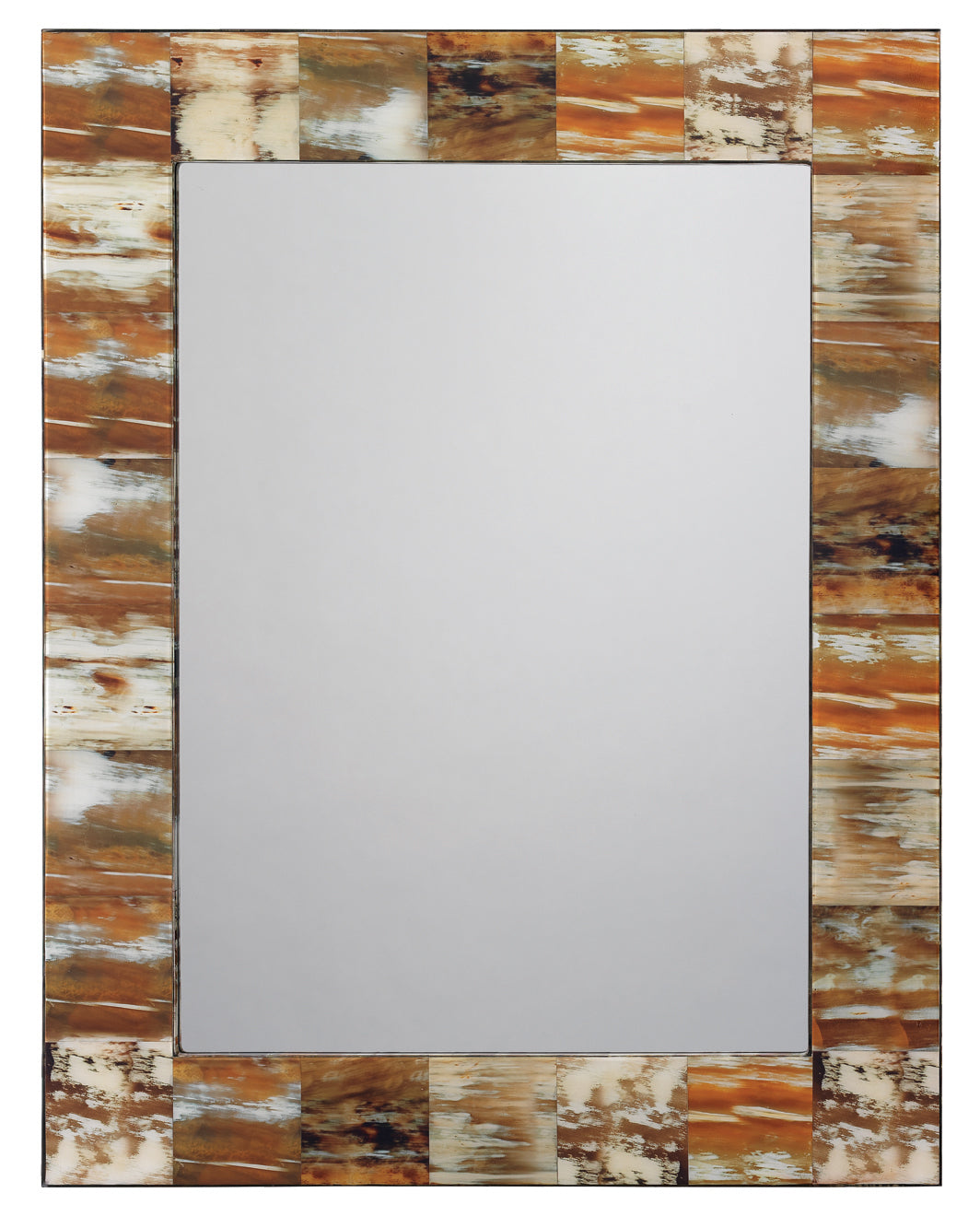 Medium Rectangle Mirror in Natural Faux Horn
