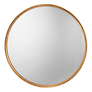 Refined Round Mirror in Gold Leaf Metal