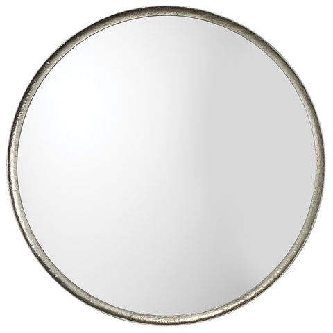 Round Silver Leaf Metal Wall Mirror