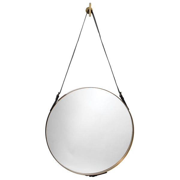 Large Leather Strap Round Mirror – Antique Brass