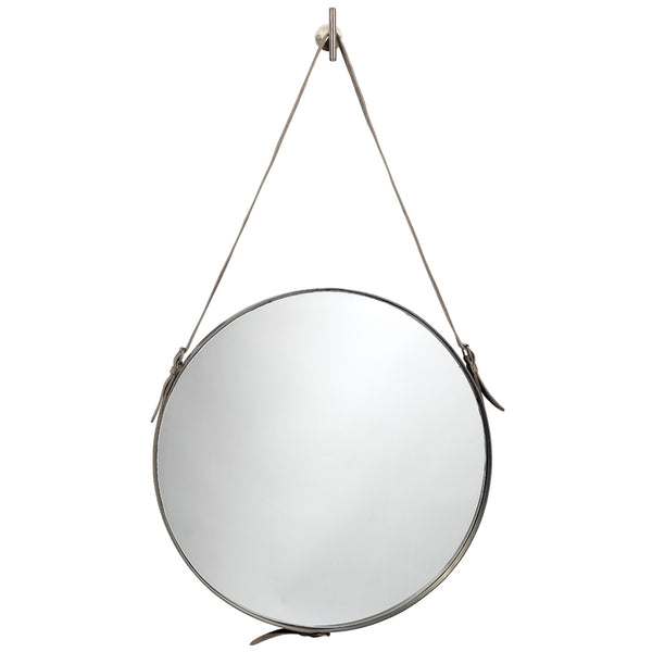 Large Leather Strap Round Mirror – Antique Silver