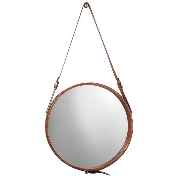 Large Leather Strap Round Mirror – Brown