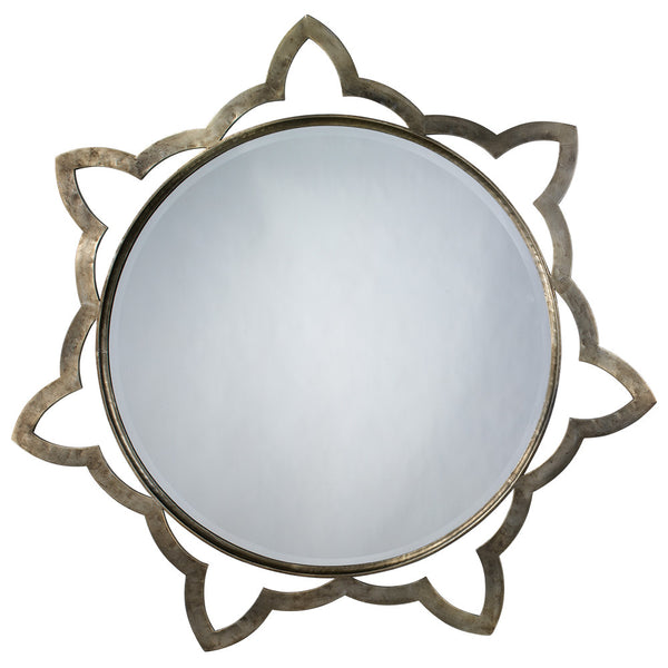 Extra Large Aged Metal Star Mirror – Antique Silver