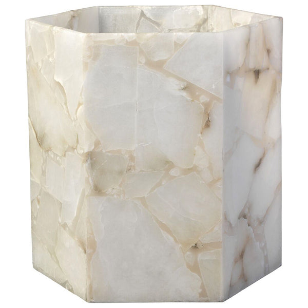 Large Alabaster Hexagonal Hurricane Vase