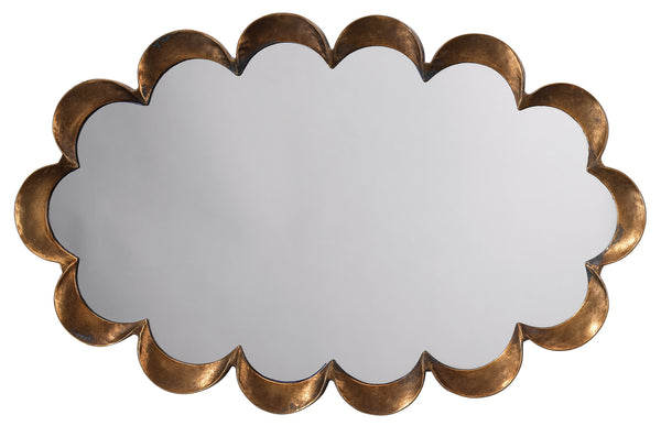 Scalloped Mirror in Antique Brass