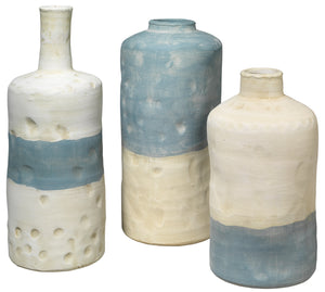 Sedona Vessels in Blue and White Ceramic (Set of 3)