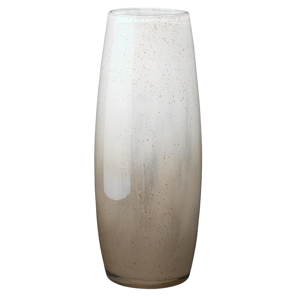 Large Glass Vase with White & Gold Ombre Finish