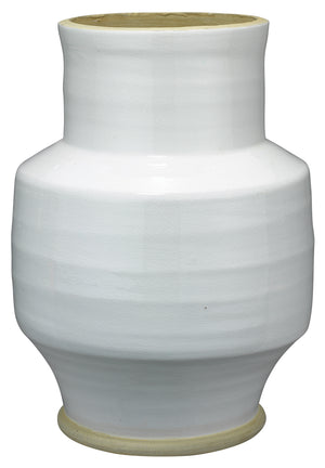 Solstice Ceramic Vase in White and Natural Ceramic