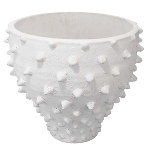 Hand Crafted Spiked Ceramic Vase – Matte White
