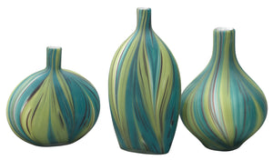 Stream Vessels in Green & Blue Striped Glass (set of 3)