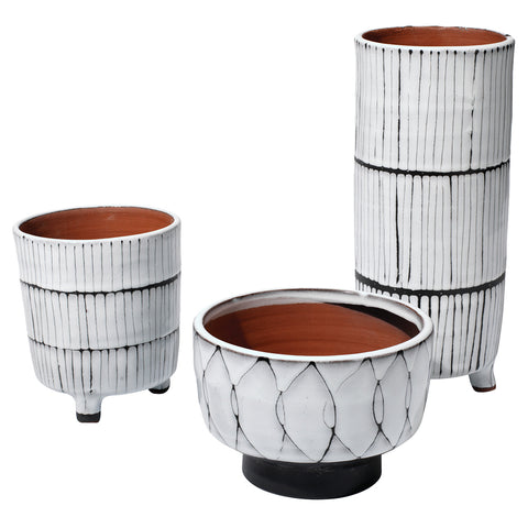 Two Tone Decorative Ceramic Vessels – Set of 3