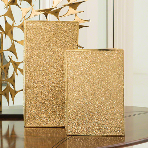 Organic Lace Gold Plated Box Vase – 2 Sizes
