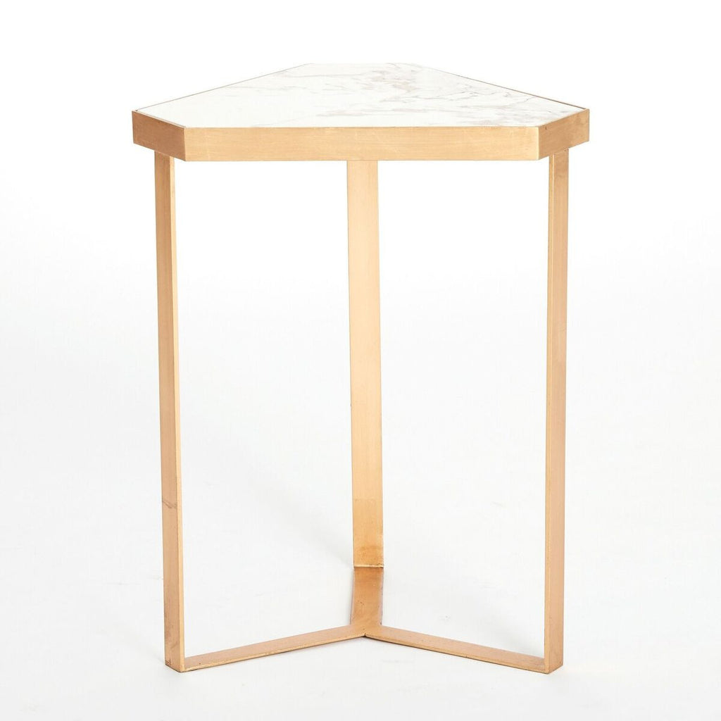 Tri Hex Side Table U2013 Gold Leaf U0026 Marble