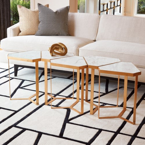 Tri Hex Side Table Gold Leaf Marble Scenario Home - Hex coffee table