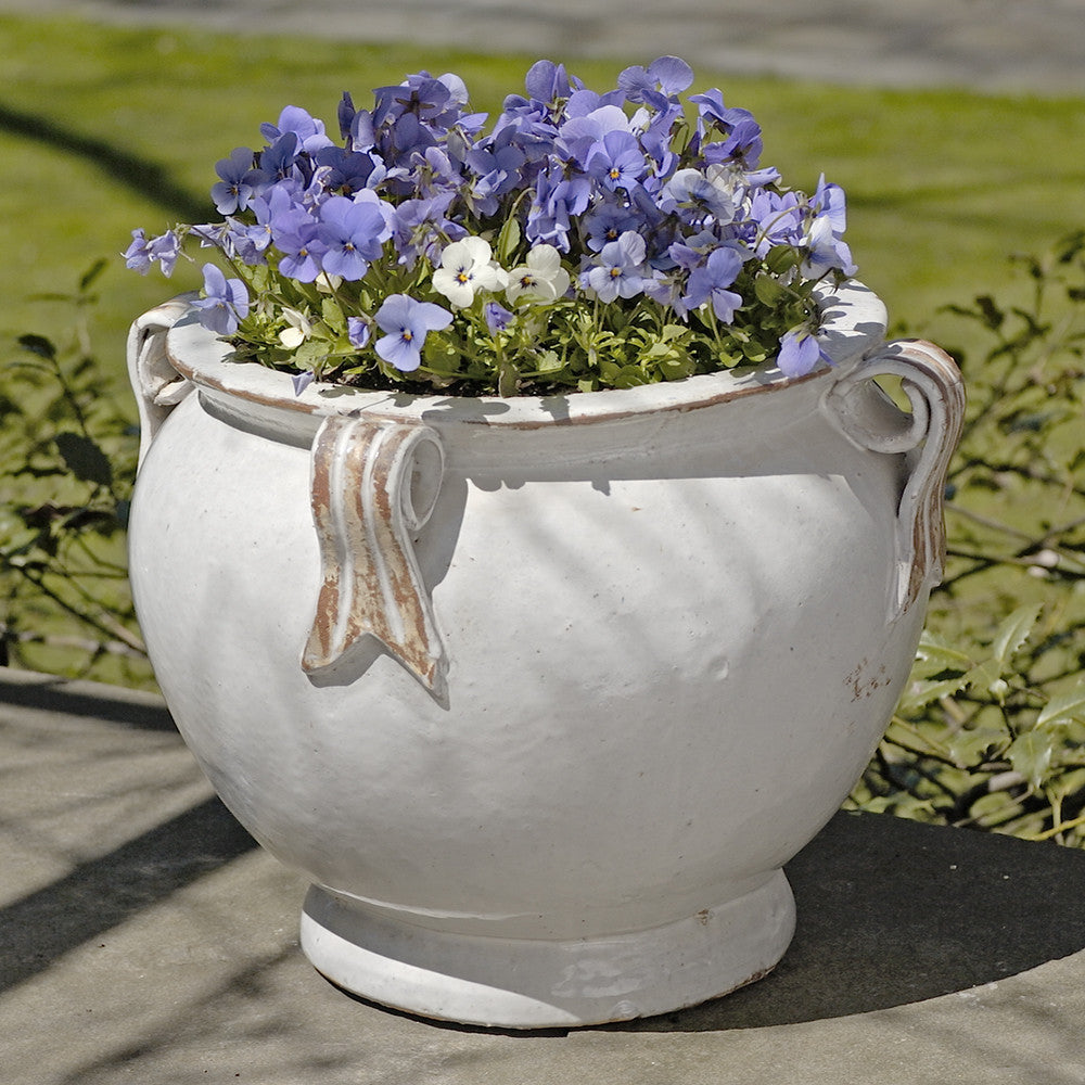 Round Handle Terra Cotta Bowl Planter – Antique White