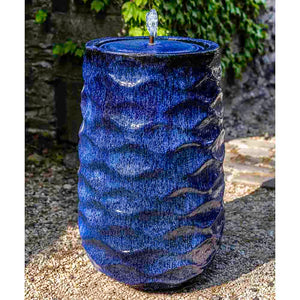 Tall Wave Pattern Glazed Terra Cotta Fountain – Riviera Blue