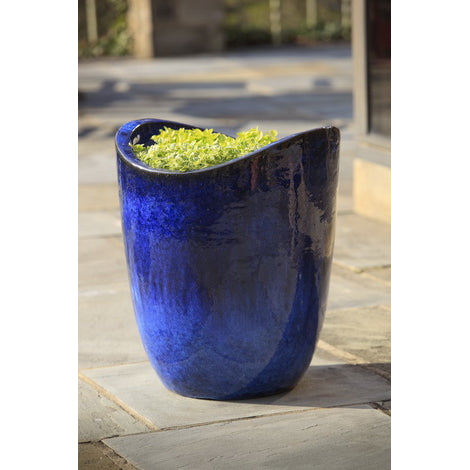 Tall Sorriso Wave Planter in Riviera Blue - Set of 3