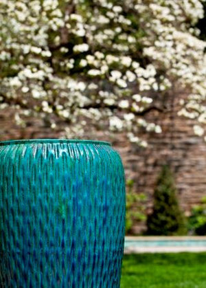 Tall Textured Indoor/Outdoor Planter - Copper & Turquoise