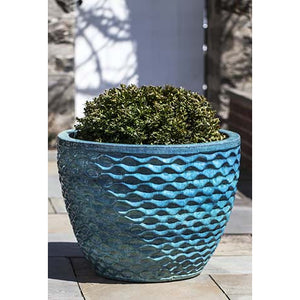 Honeycomb Round Planter in Aqua – Set of 4