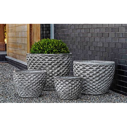 Honeycomb Round Planter in Heather Grey – Set of 4